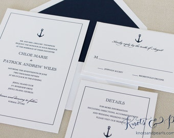 Nautical Anchors Wedding Invitation Anchor Wedding Invite