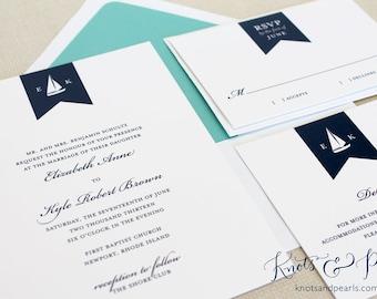 Sailboat Wedding Invitations, Nautical Wedding Invitations, Preppy Wedding Invitations