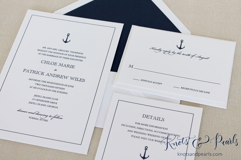 Sailboat Wedding Invitations: Anchor Wedding Invitation Nautical Wedding Invitation Boat