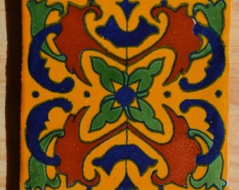 "90 Mexican Talavera Tiles handmade-hand painted 4 ""X 4"""