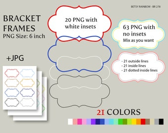 Bracket Digital frames clip art in 21 colors PNG and JPGs, Digital frame clipart  - BR 278