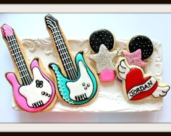 Custom Decorated Rockstar Sugar Cookies