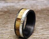 Used Jack Daniel Distillery Whiskey Barrel Wood Deer Antler Inlay Carbon Fiber Wedding Band or Ring Wood Deer Antler Inlay