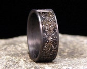 Meteorite Shavings Inlay Carbon Fiber Wedding Band or Ring