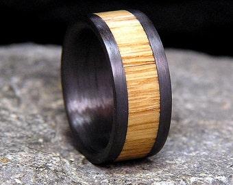 Used Jack Daniel Distillery Whiskey Barrel Wood Inlay Wedding Wide Edge Carbon Fiber Band Or Ring