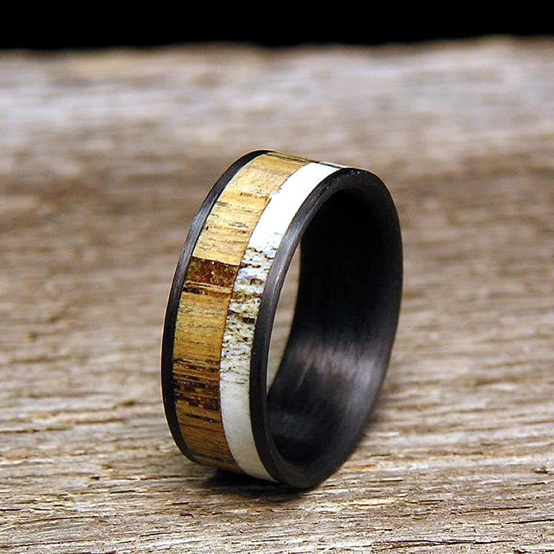 used jack daniel distillery whiskey barrel wood deer antler inlay carbon fiber wedding band or ring - Antler Wedding Rings
