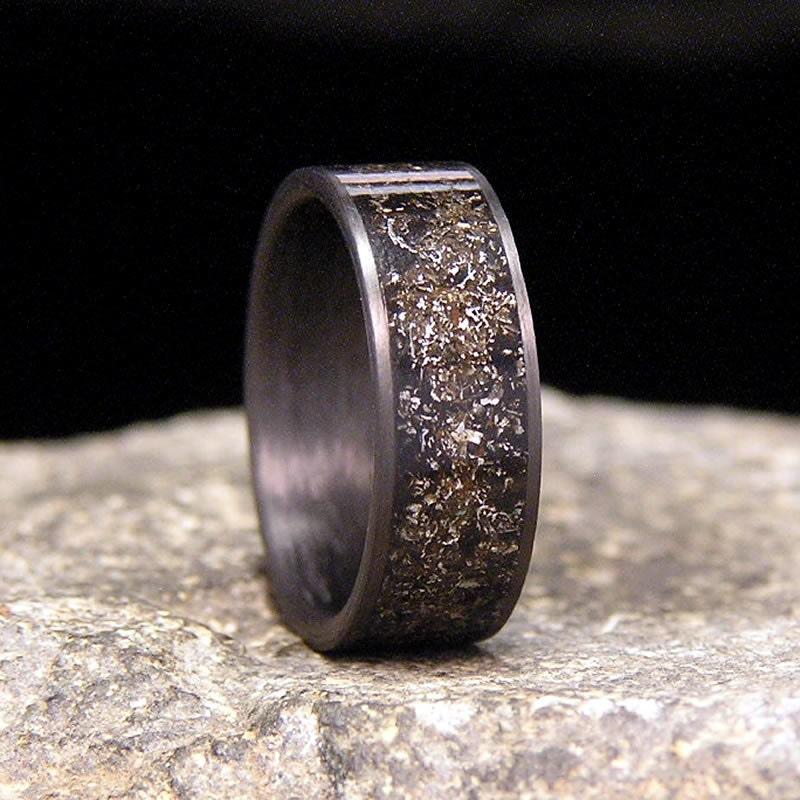meteorite shavings inlay carbon fiber wedding band or ring - Meteorite Wedding Ring