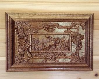 WOOD WALL ART Bird Dog Pointer ~ Bird Dog Hunting ~ Vintage Hunting Dog Scene ~ Bird Dog Wood Carvings ~ Hunting Bird Dogs ~ Hunter Gifts