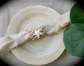 Rustic Beach Napkin Rings.  Made from Choya/ Cholla Wood and Knobby Starfish  - Set of 4 or 8