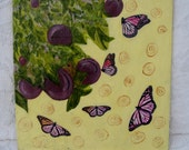Plum Tree with Butterflies, original encaustic 12 x 12 in., mixed media