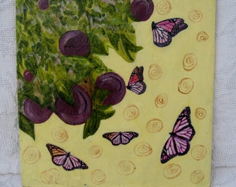 BUTTERFLIES with PLUM TREE original encaustic 12 x 12 in., mixed media