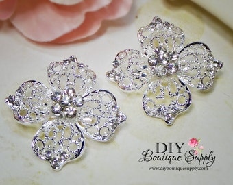 2 pcs Small Rhinestone Brooch Pins for Brooch Bouquet Crystal Brooch Wedding Bridal Accessories for sash pins shoe clips 40mm 686092