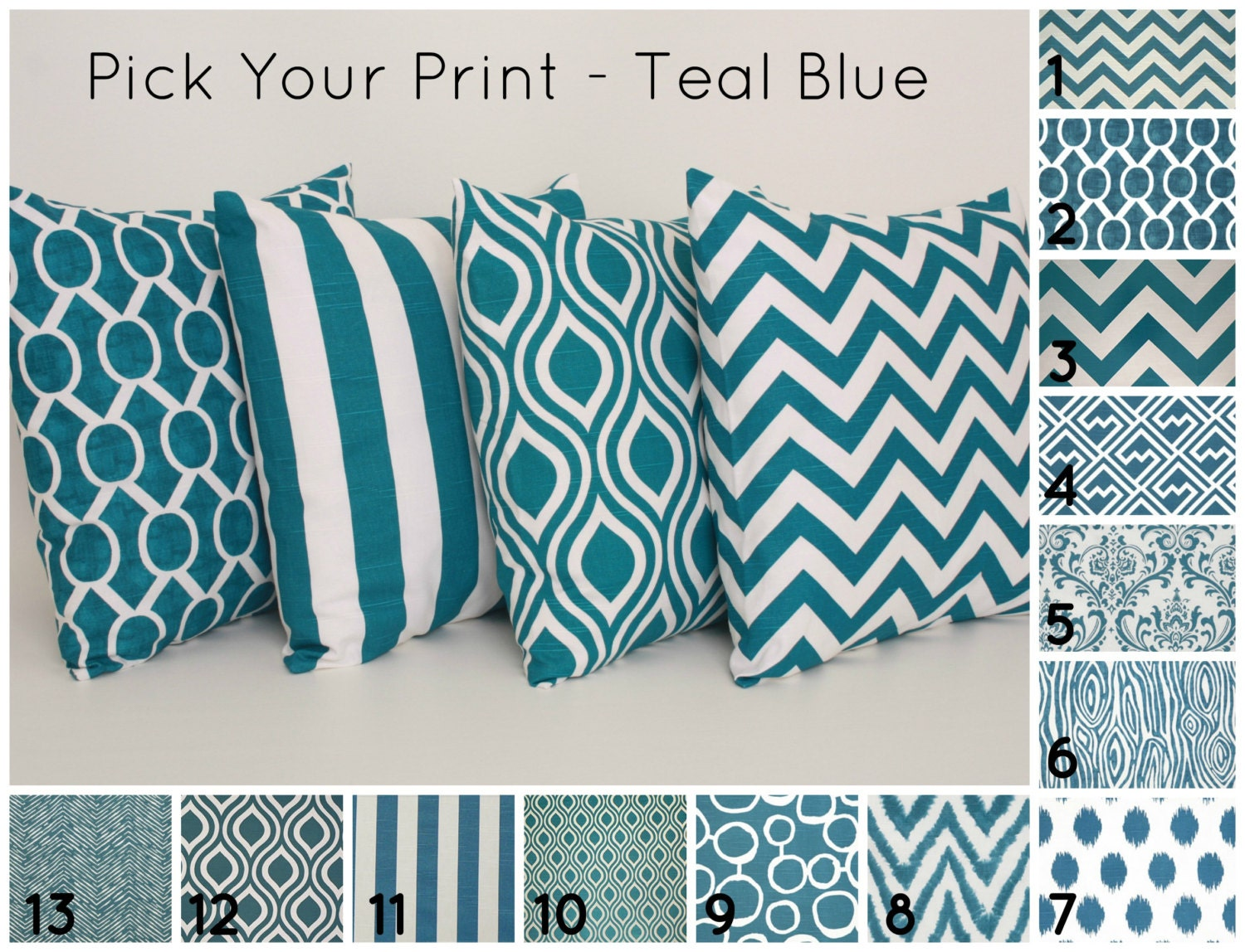 Etsy Teal Throw Pillow : Teal Throw Pillow Cover PICK YOUR PRINT 1 by DimensionsHomeDecor