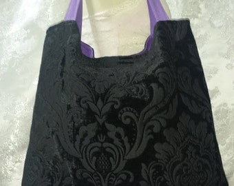 Large Black Damask Purse with Purple Bottom and Straps