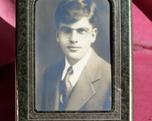 Old Vintage Portrait Picture of Handsome Young Man w Glasses Vintage Ephemera Dick Gleason