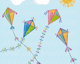 Autumn Kites Clip Art Set-autumn clipart, fall clipart, kite clipart, colorful kites, clouds, sun, eps, png, jpeg, instant download