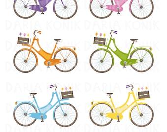 Bikes Clipart Set-bicycles, different colors, vector, digital design, eps, png, jpeg, instant download