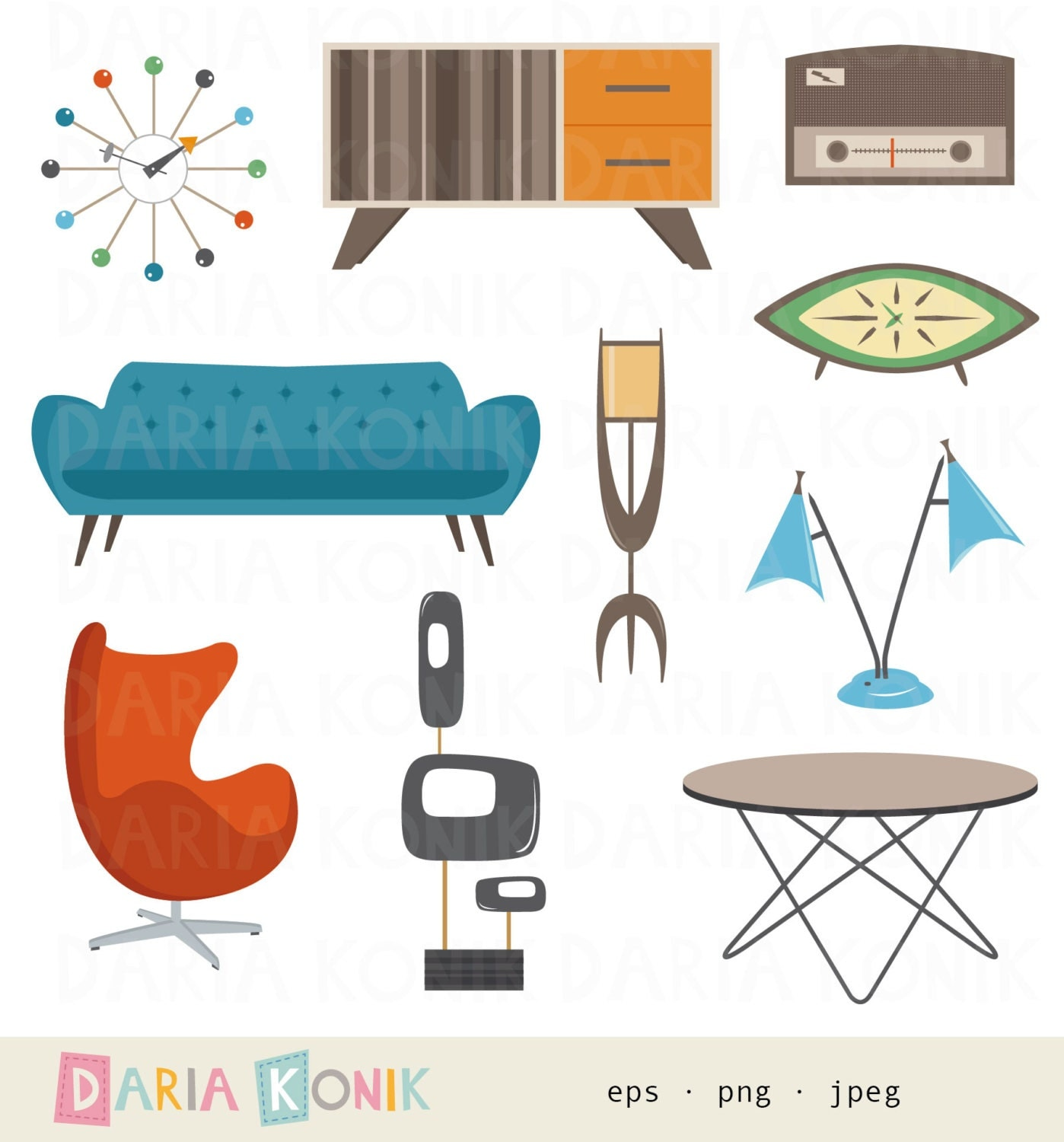 Retro m bel clipart set m bel atomic age lampe sofa for Interior house design clipart