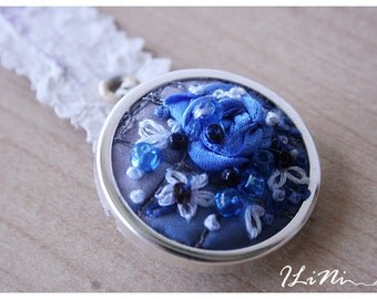 OOAK floral blue rose brooch
