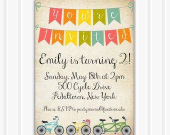 Vintage Bicycle Birthday Invitation, INSTANT DOWNLOAD, Printable Bicycle Party, Rustic, Retro Bicycle Party, Baby Shower, Custom Invitaiton