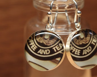 Starbucks Barista earrings with sterling silver and resin. Made from recycled, upcycled  gift cards.