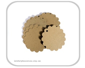 "Kraft Scallop Tags- 25 Brown Tags- Wedding Favor Tags- Scallop Tags- Kraft Tags- 2"" inch"