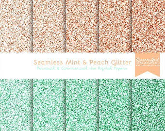 50% OFF Seamless Mint and Peach Glitter Digital Paper Set - Personal & Commercial Use