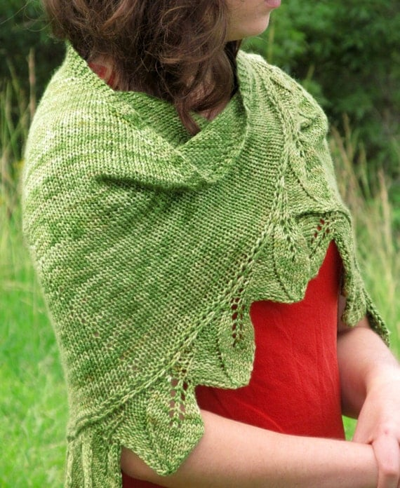 Vine Leaf Knitting Pattern : Hand-Knit Lace Shawl-Leaf and Vine Design-Soft Green