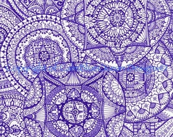 Intricate Purple Paisley Pattern. Unframed Original. 29.5 x 41cm.