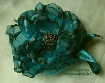 Handmade light blue organza flower brooch, flower clip & pin