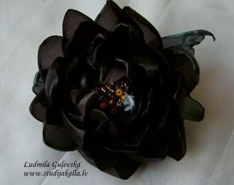 Handmade brown organza flower brooch, waterlily flower clip & pin