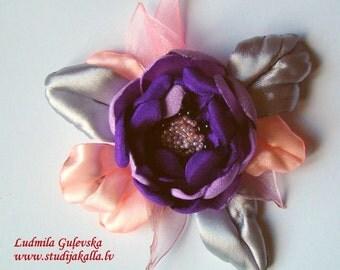 Handmade violet-pink-gray satin flower brooch, flower clip & pin, embroidered flower