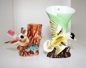 Vintage Bird Vase/Planters Suitable for Hanging or Standing - Set of 2