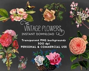 Vintage Flowers PNG Clip Art Instant Download Digital Collage Sheet for Scrapbooking, Invitations etc. Commercial Use OK. Pack 01