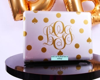 SALE Monogrammed Polka Dot MacBook Laptop Computer Case