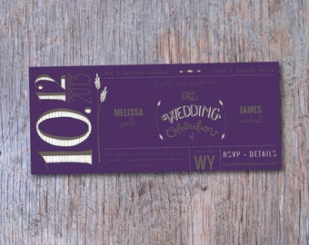 SAMPLE Purple Wheat Wedding Invitation, 8.5x3.66, Kraft Paper Open End Envelope, Handlettered, Custom