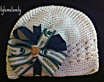 Michigan State Baby Girl Boutique Bow Crocheted Hat