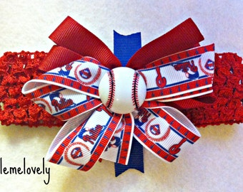 Philadelphia Phillies Baby Girl Boutique Bow Crocheted Headband