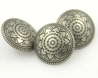 Metal Buttons - Hearts Flower Nickel Silver Metal Shank Buttons - 18mm - 11/16 inch - 6 pcs