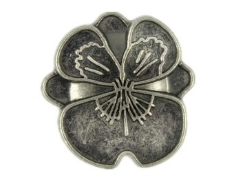 Pansy Metal Buttons - Nickel Silver Color Pansy Metal Shank Buttons - 18mm - 11/16 inch - 6 pcs
