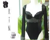 Vintage 1990s Black Velvet and Lace Bustier Bodysuit