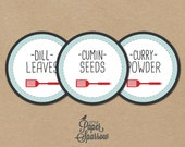 EDITABLE PDF - CIRCULAR Herb & Spice Jar Labels - Good Ol' Spatula  - Hand drawn style - rustic - whimsical
