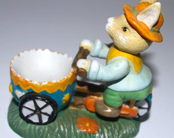 rabbit on bicycle egg cup