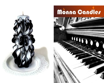 Candle, Carved candles, Small candle, bougie sculptée, Black& White color candle