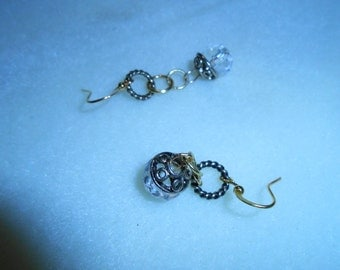 Antique Gold Link Dangle Earrings with Crystal Clear Gem Stones