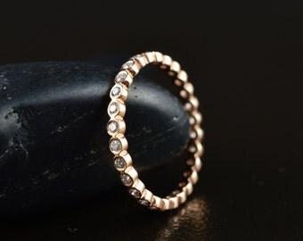 Cadence Eternity - Diamond Eternity Band in Rose Gold, Round Brilliant Cut Bezel Set Diamonds, Stackable, Wedding Band, Free Shipping