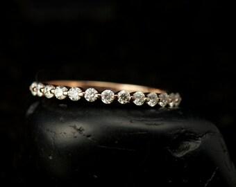 Rose Gold Diamond Wedding Band, Single Shared Prong Setting with Closed Baskets, 0.45tcw, 1/2 Eternity Style, Free Shipping, Brooke