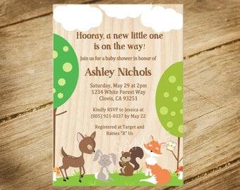 Woodland Animals Baby Shower Invitation - Forest Animals / Nature Theme