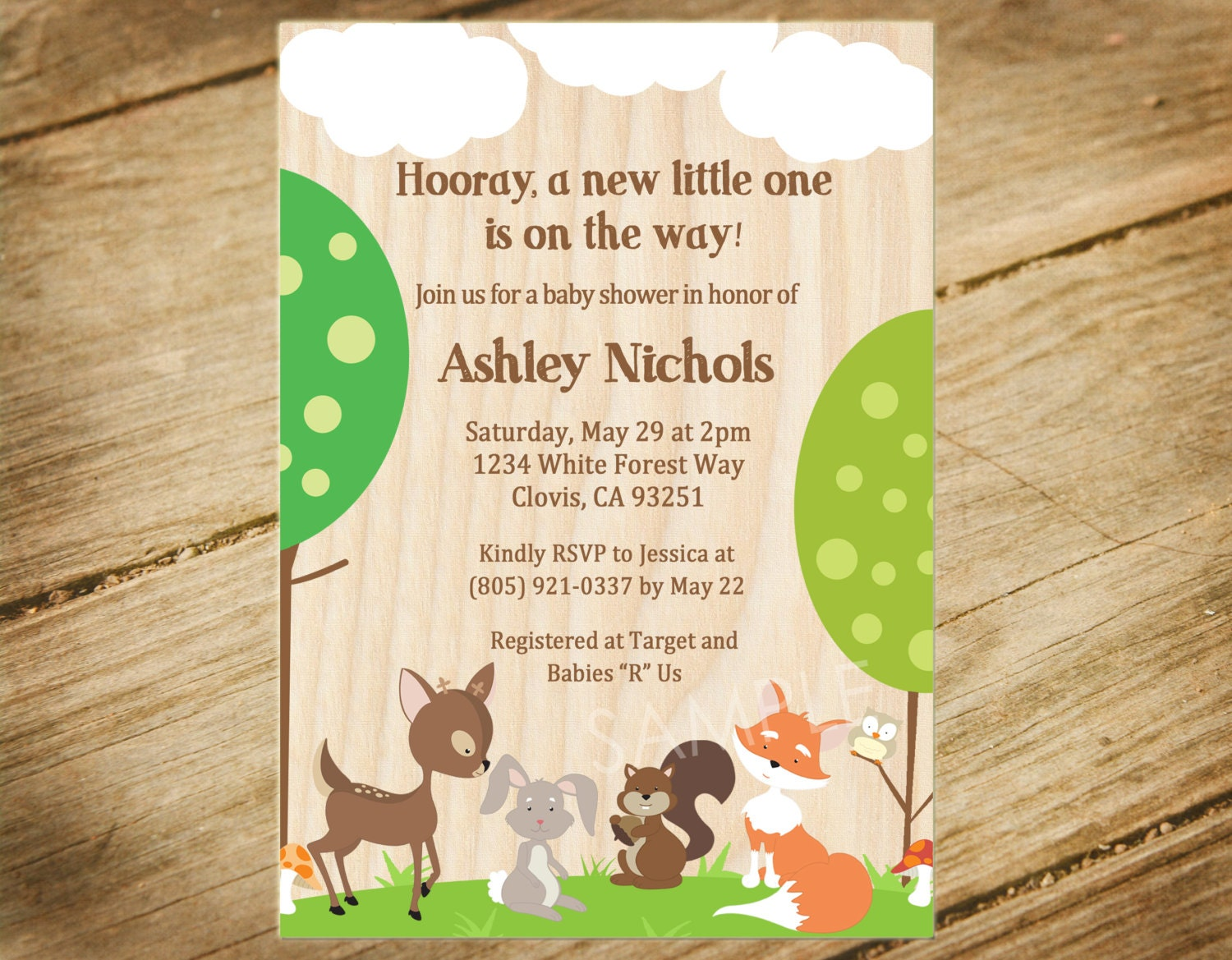 Woodland Animals Baby Shower Invitation by PocketfulOStationery