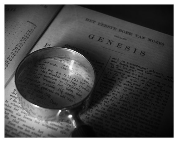 Still life photography, old bible, magnifying glass, Black and White, Genesis, 5x7 inch 8x10 inch, Wall Decor, Home Decor